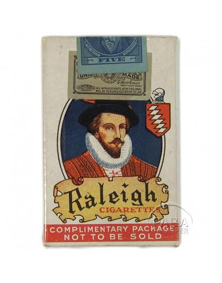 Paquet de 5 cigarettes Raleigh, 1936