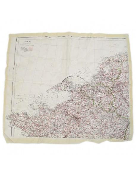 Carte d'évasion en soie, Nord-Ouest Europe