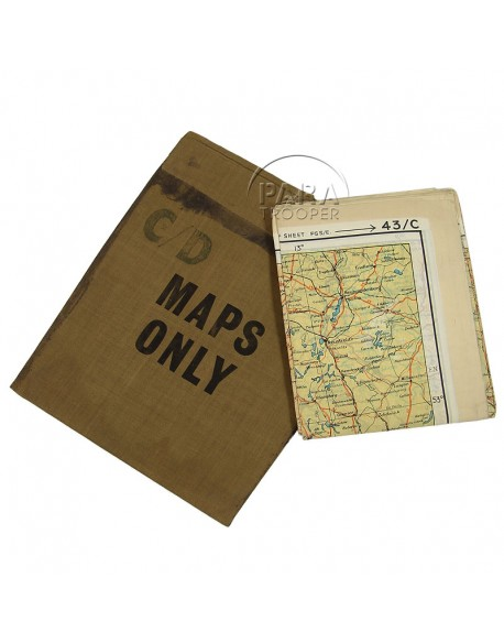 Map, Silk, escape, C/D, 1943 + pouch