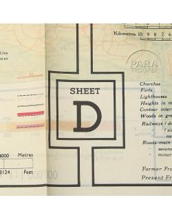 Map, Silk, escape, C/D, 1943 + pouch