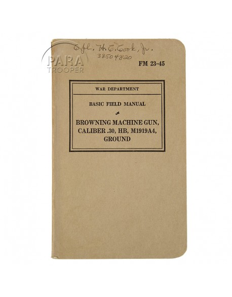 Field Manual 23-25, Browning Automatique Rifle M1919A4