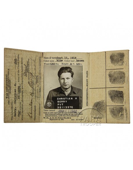 Card, Identification, Enlisted men, 1st type