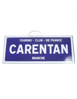 Sign, Road, Carentan, Enameled, 48 x 20 cm