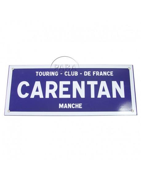 Panneau Carentan, émaillé, 48 x 20 cm