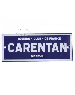 Panneau Carentan, Métal émaillé, 25 x 10 cm
