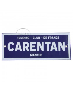 Sign, Road, Carentan, Enameled, 25 x 10 cm