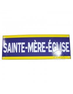 Sign, Road, Sainte Mère Eglise, Enameled, 50 x 18 cm