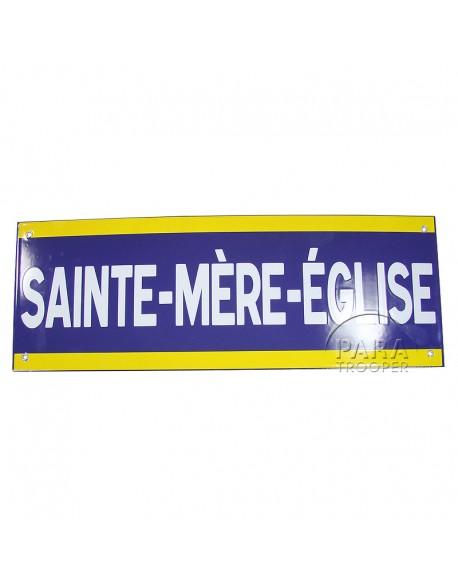 Panneau Sainte Mère Eglise, Métal émaillé, 50 x 18 cm