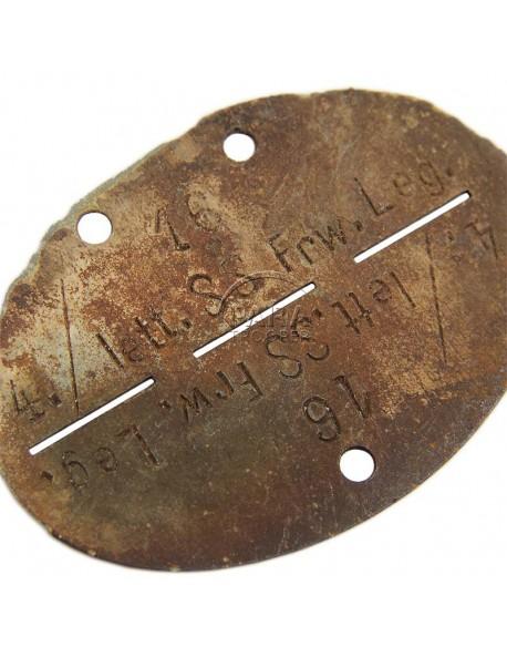 """Plaque d'identité 15e Division SS de Grenadiers """"lettland"""""""