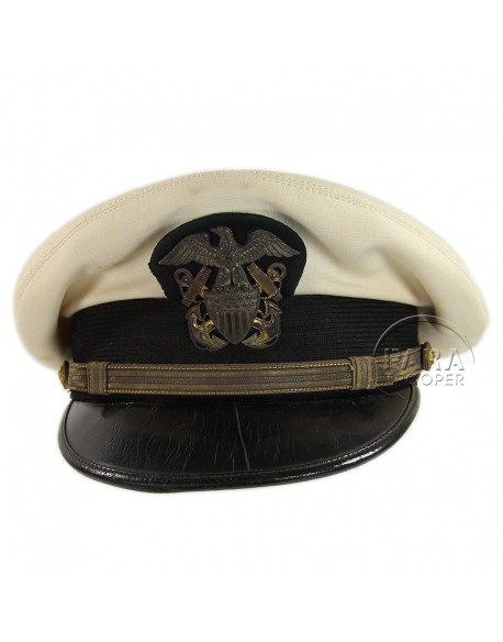 Casquette, Officier, USN, blanche, Nominative, L. Lewis & Son.