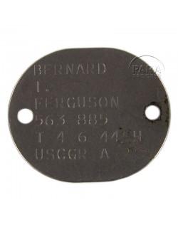 Plaque d'identité USCG, 1944
