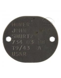Plaque d'identité USN, 1943