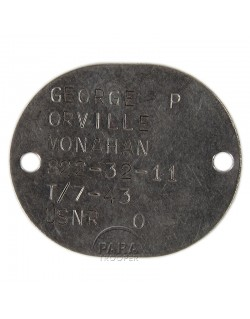 Dog tag, USN, 1943