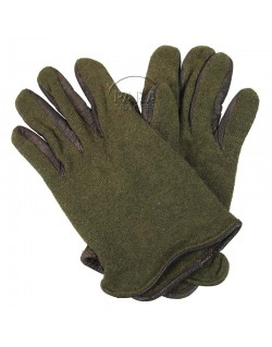 Gloves, Wool, with leather palm, US Army