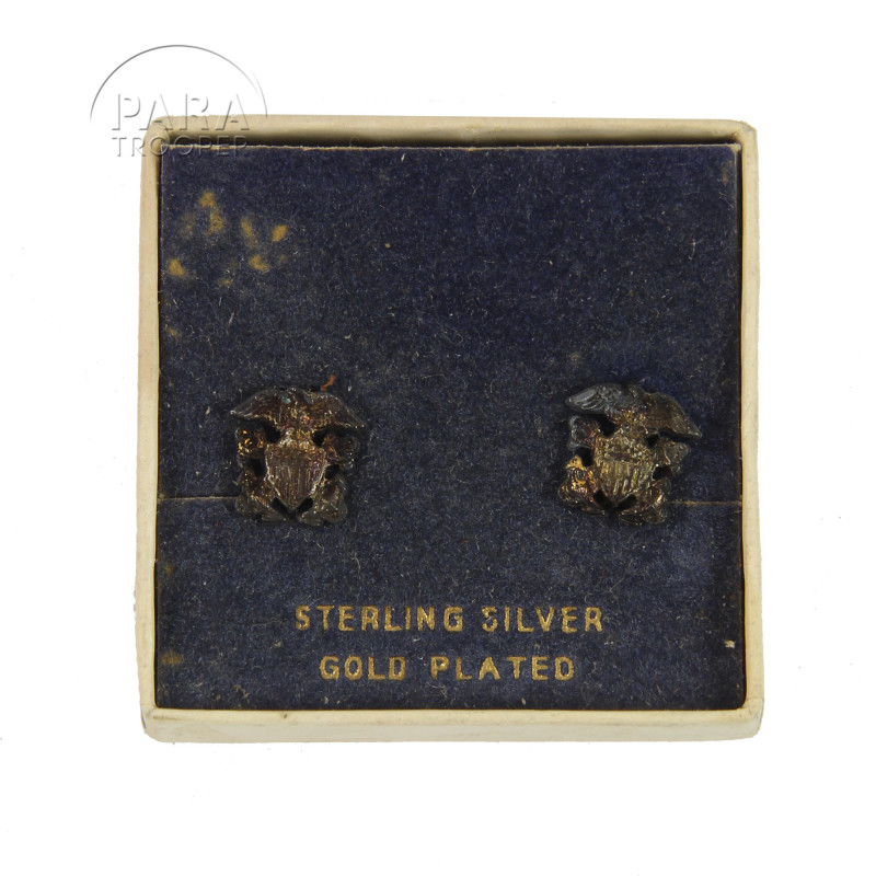Earrings, US Navy, Sterling Silver, Gold Plated