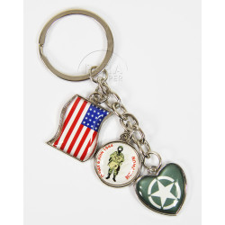 Key chain, Charms, Star, Soldier and Flag