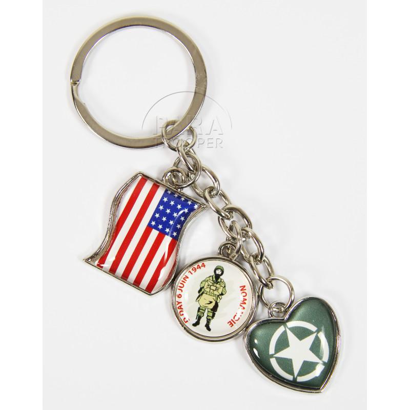 Porte-clés breloque, drapeau, étoile et soldat