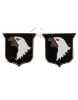Paire d'insignes de col 101st AB. Div.