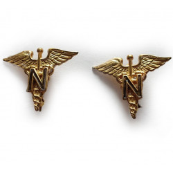 Insignia, Collar, Nurse Officer, Pair, Meyer, Sterling, Pin back
