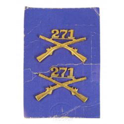 Insignias, Collar, Pair, 271st IR, 69th Inf. Div.