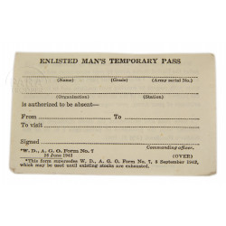 Enlisted Man's Temporary Pass, US Army, 1943