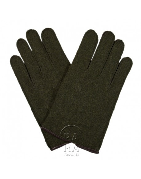 Gloves, Wool, OD, Leather Palm, US