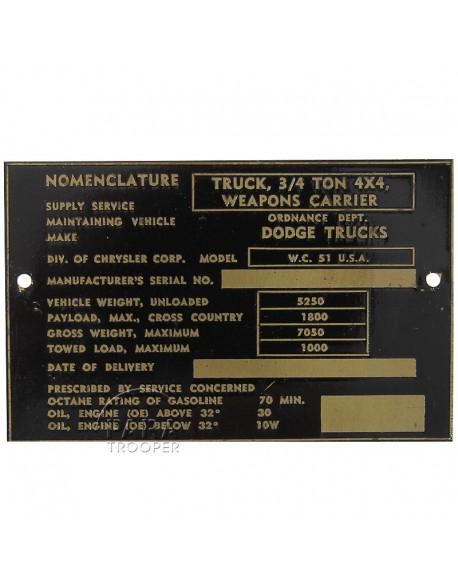 Plaque de nomenclature, Dodge WC 51