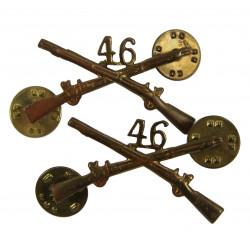 Insignias, Collar, Pair, 46th IR, 5th Armored Div.