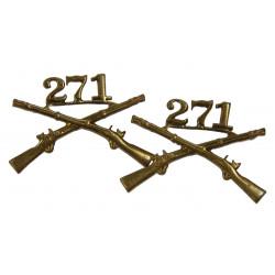 Insignias, Collar, Pair, 271st IR, 69th Inf. Div., N.S. Meyer