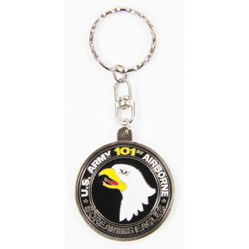 Key Ring, 101st Airborne (Screaming Eagle), silver