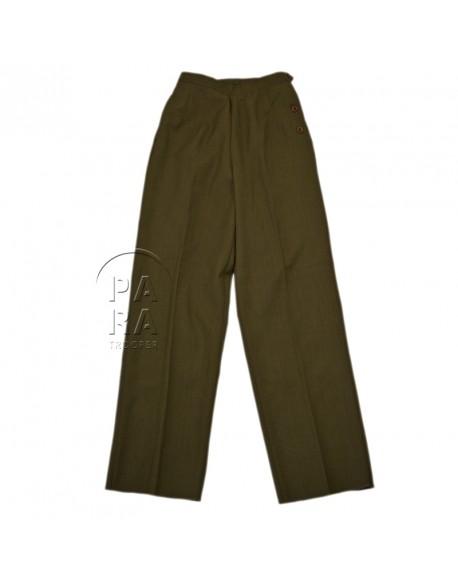 Pantalon, en laine moutarde, femme