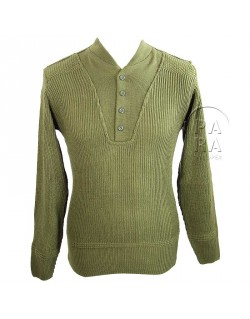 Pull en laine 5 boutons, moutarde
