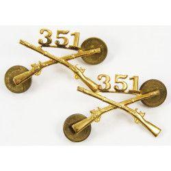 Insignias, Collar, Pair, 351st IR, 88th Inf. Div., N.S. Meyer
