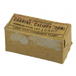 Box, cartridges, calib. 30 M1, Lake City ORD. Plant, Lot 12500