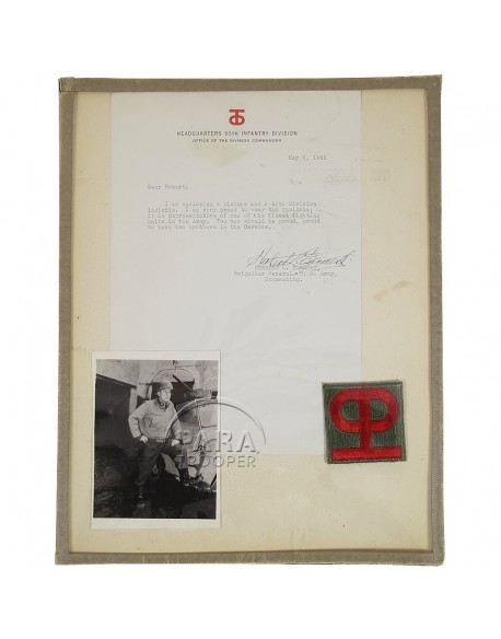 Insignia and authograph, General Earnest, 90th Inf. Div.