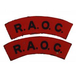 Paire d'insignes, Royal Army Ordnance Corps, imprimés