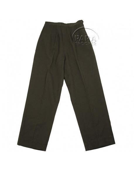 Pantalon en laine, chocolat, femme, officier