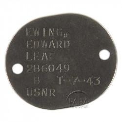 Plaque d'identité, Dog Tag, US Navy, Edward Ewing