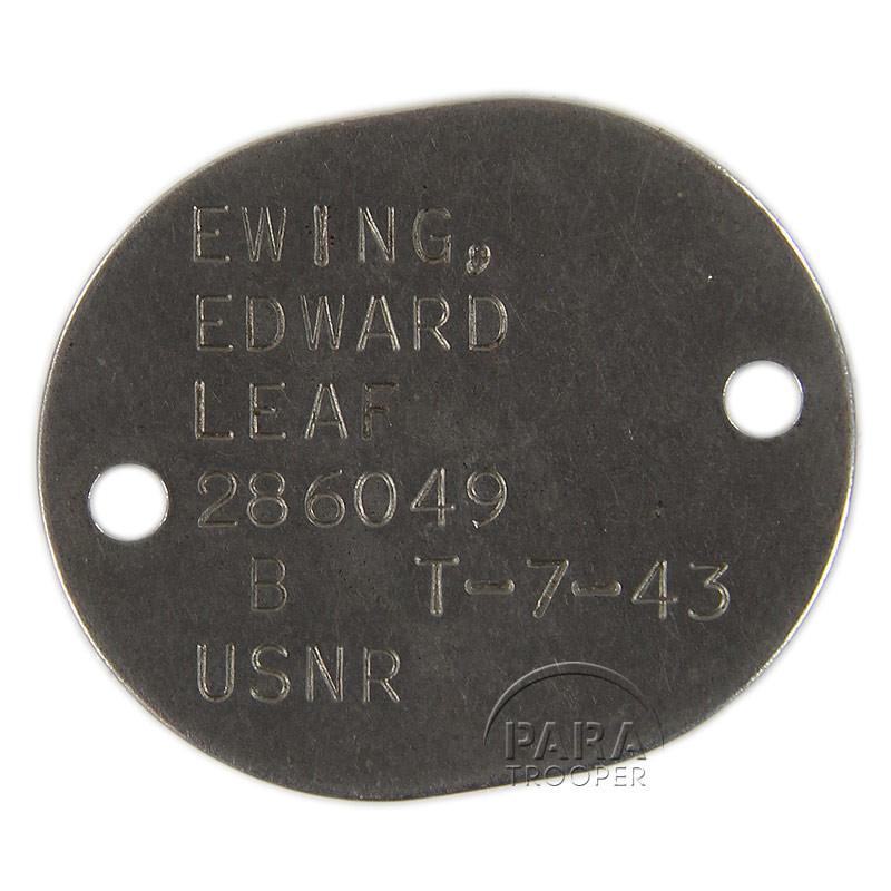 Dog tag, US Navy, Edward Ewing