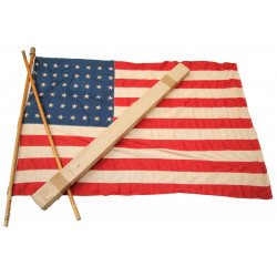 Flag, US, 48 Stars, Cotton, 3.7' x 5.6', with Two-part Pole
