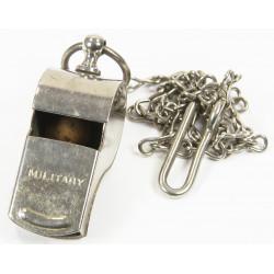 Whistle, Brass, chromed, MILITARY, named