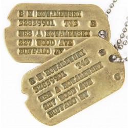 Dog Tags, 1st type Monel,  Bernard N. Kowalewski