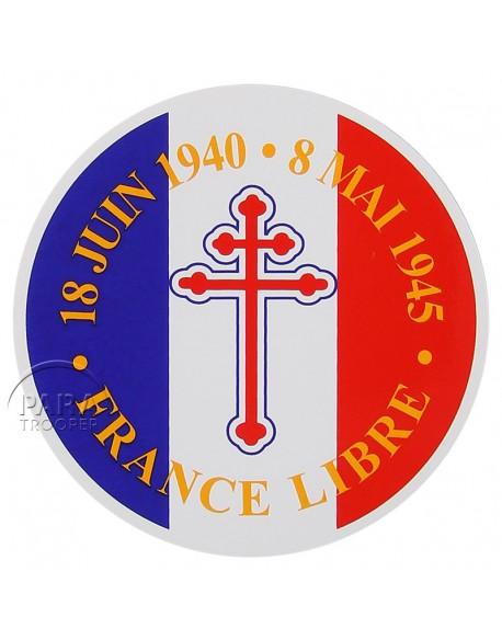 Autocollant France Libre, rond