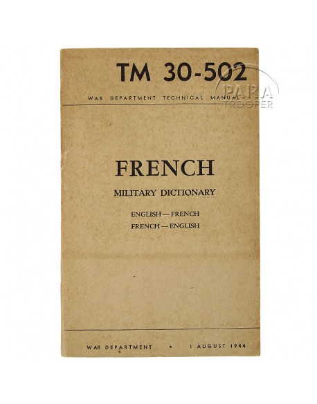 Manuel Technique, dictionnaire militaire, 1944