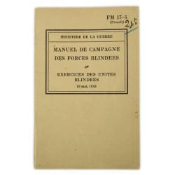 Field Manual 17-5, Exercices des unités blindées, 1943 (French Version)