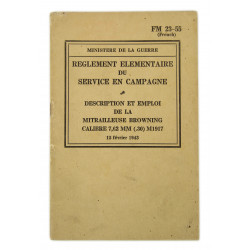 Field Manual 23-55, Mitrailleuse Browning M1917, 1943 (French Version)